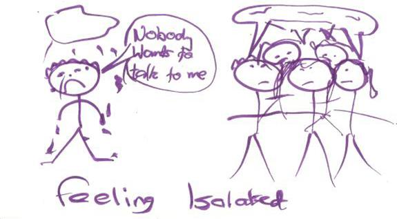 Feeling isolated - a drawing by a young person